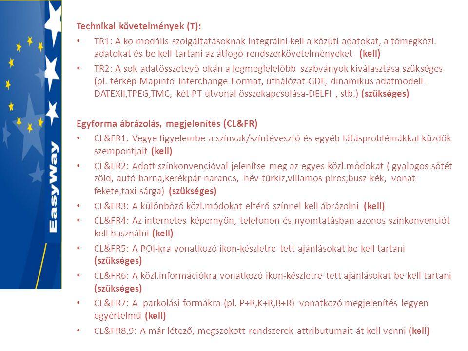 Technikai követelmények (T): • TR1: A ko-modális szolgáltatásoknak integrálni kell a közúti adatokat, a tömegközl. adatokat és be kell tartani az átfo