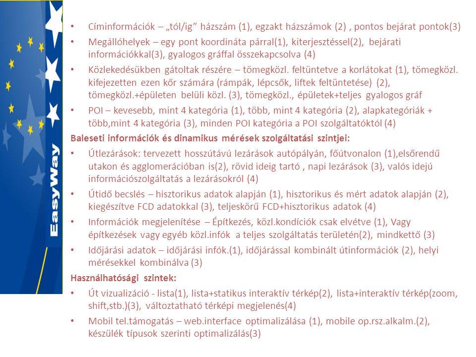 """• Címinformációk – """"tól/ig"""" házszám (1), egzakt házszámok (2), pontos bejárat pontok(3) • Megállóhelyek – egy pont koordináta párral(1), kiterjesztéss"""