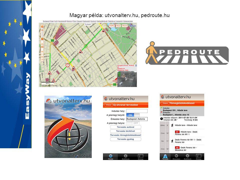 Magyar példa: utvonalterv.hu, pedroute.hu