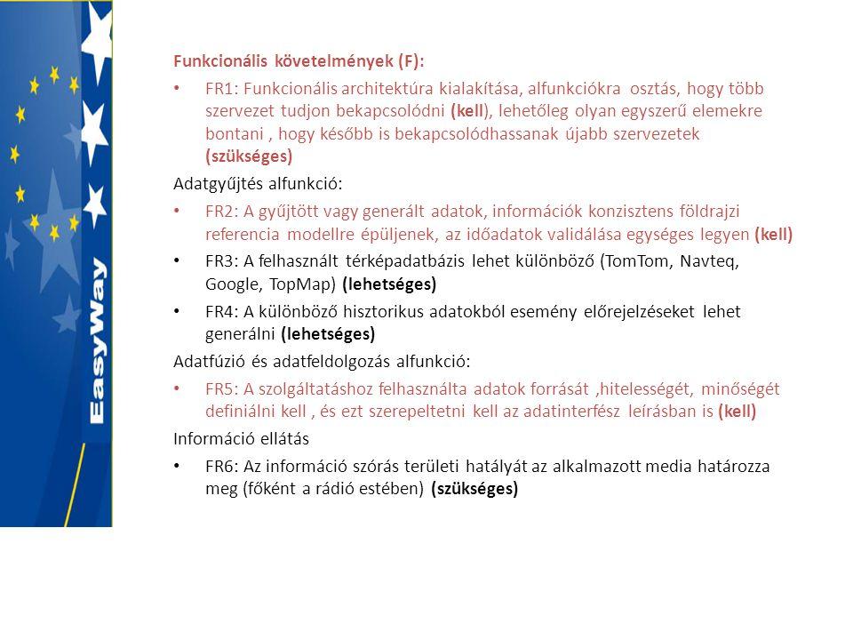 Funkcionális követelmények (F): • FR1: Funkcionális architektúra kialakítása, alfunkciókra osztás, hogy több szervezet tudjon bekapcsolódni (kell), le