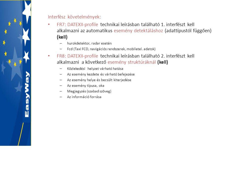 Interfész követelmények: • FR7: DATEXII-profile technikai leírásban található 1. interfészt kell alkalmazni az automatikus esemény detektáláshoz (adat