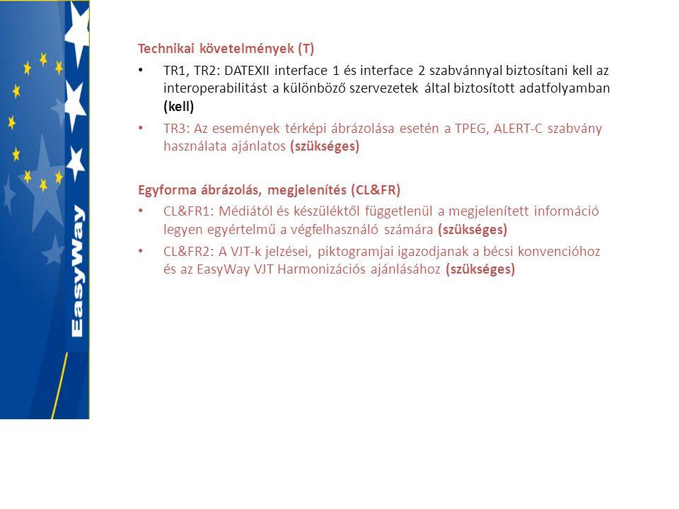 Technikai követelmények (T) • TR1, TR2: DATEXII interface 1 és interface 2 szabvánnyal biztosítani kell az interoperabilitást a különböző szervezetek által biztosított adatfolyamban (kell) • TR3: Az események térképi ábrázolása esetén a TPEG, ALERT-C szabvány használata ajánlatos (szükséges) Egyforma ábrázolás, megjelenítés (CL&FR) • CL&FR1: Médiától és készüléktől függetlenül a megjelenített információ legyen egyértelmű a végfelhasználó számára (szükséges) • CL&FR2: A VJT-k jelzései, piktogramjai igazodjanak a bécsi konvencióhoz és az EasyWay VJT Harmonizációs ajánlásához (szükséges)