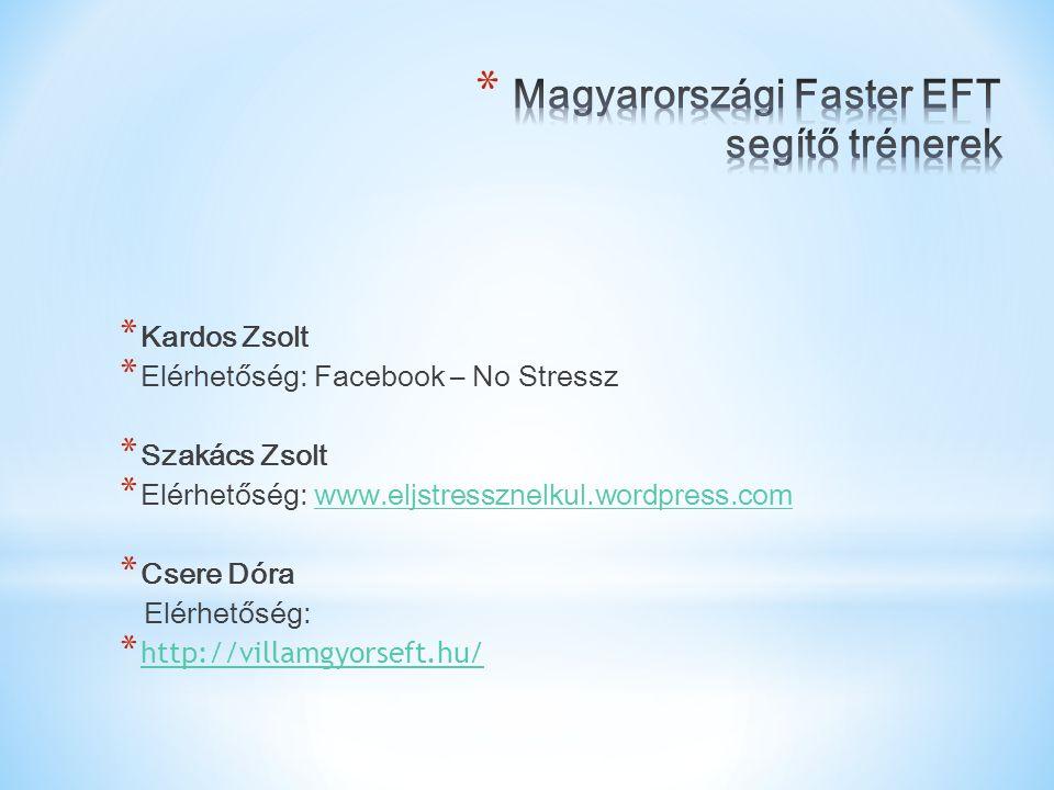 * Kardos Zsolt * Elérhetőség: Facebook – No Stressz * Szakács Zsolt * Elérhetőség: www.eljstressznelkul.wordpress.comwww.eljstressznelkul.wordpress.co