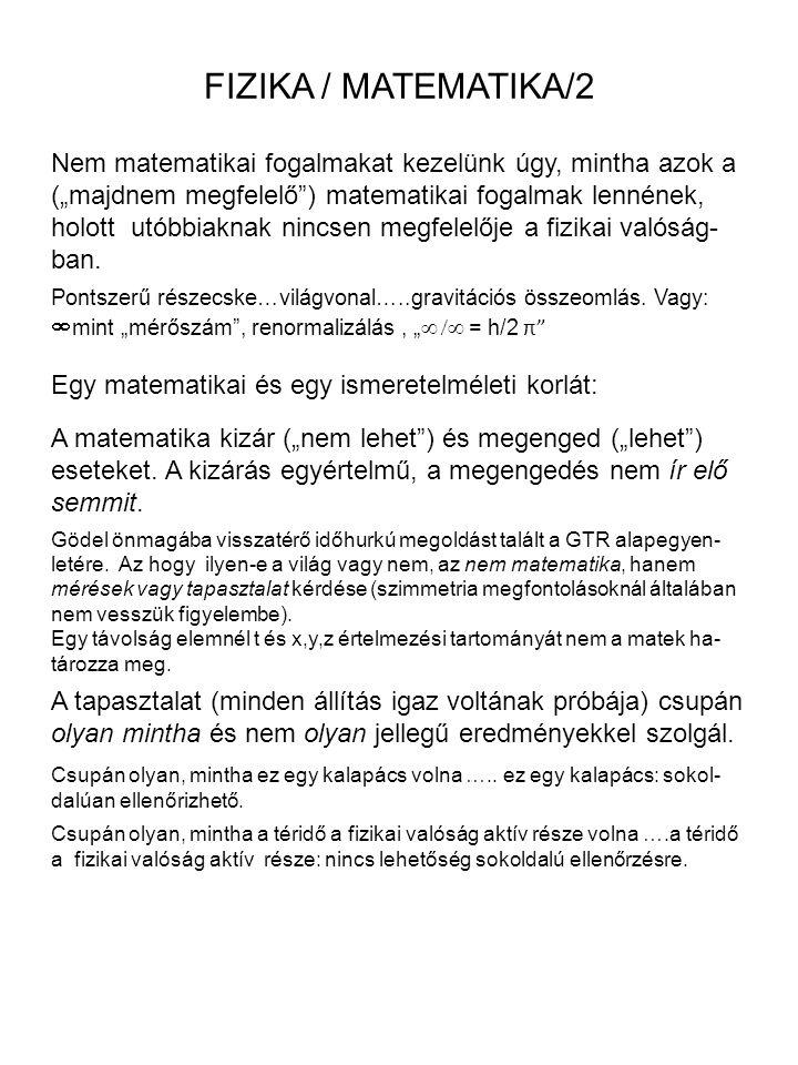 """FIZIKA / MATEMATIKA/2 Nem matematikai fogalmakat kezelünk úgy, mintha azok a (""""majdnem megfelelő"""") matematikai fogalmak lennének, holott utóbbiaknak n"""