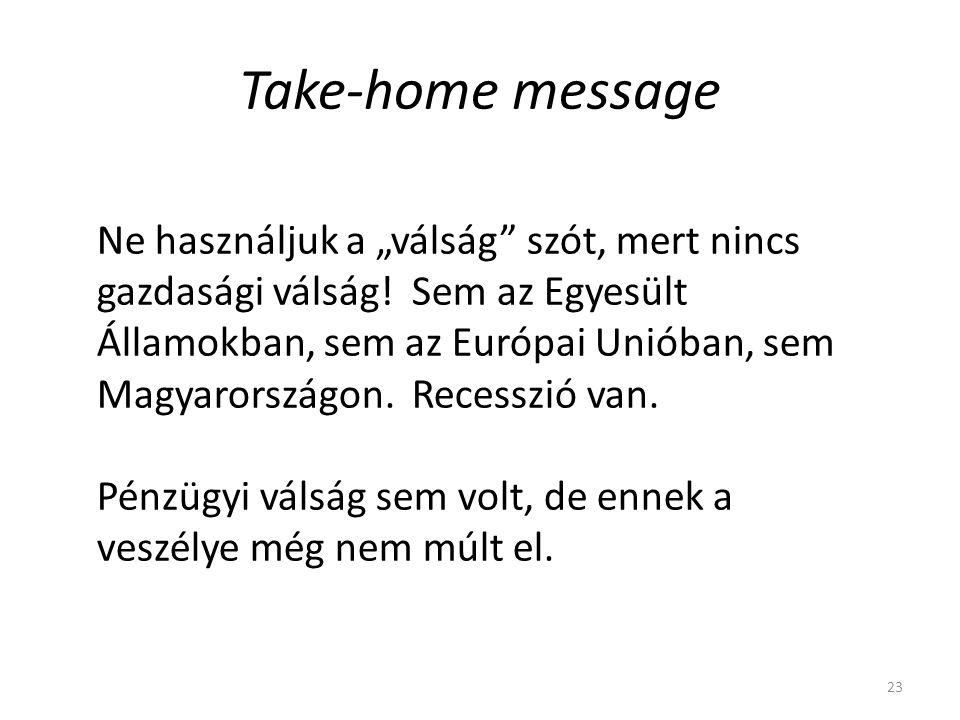 """Take-home message 23 Ne használjuk a """"válság szót, mert nincs gazdasági válság."""