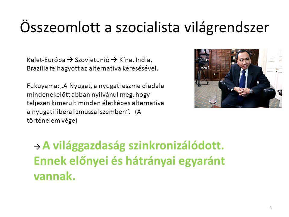 Összeomlott a szocialista világrendszer Kelet-Európa  Szovjetunió  Kína, India, Brazília felhagyott az alternatíva keresésével.