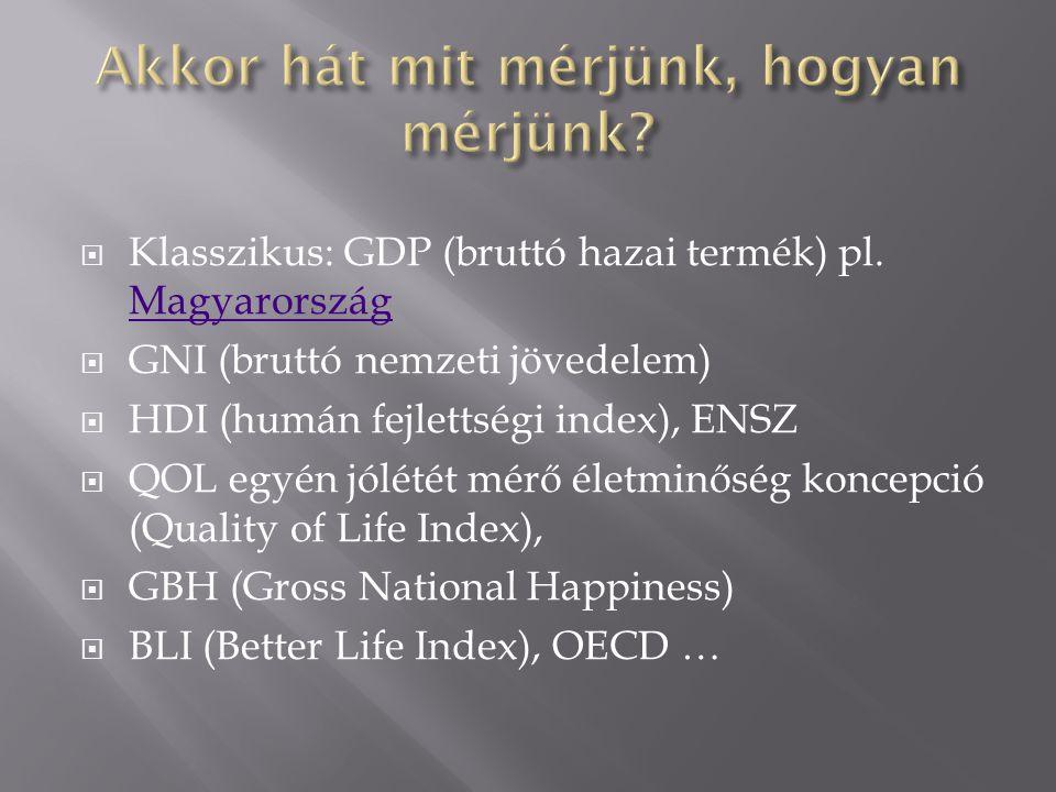  Klasszikus: GDP (bruttó hazai termék) pl.