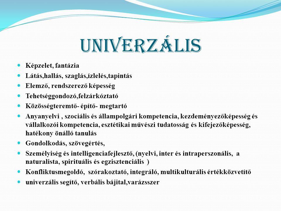 Univerzális KKépzelet, fantázia LLátás,hallás, szaglás,ízlelés,tapintás EElemző, rendszerező képesség TTehetséggondozó,felzárkóztató KKözöss