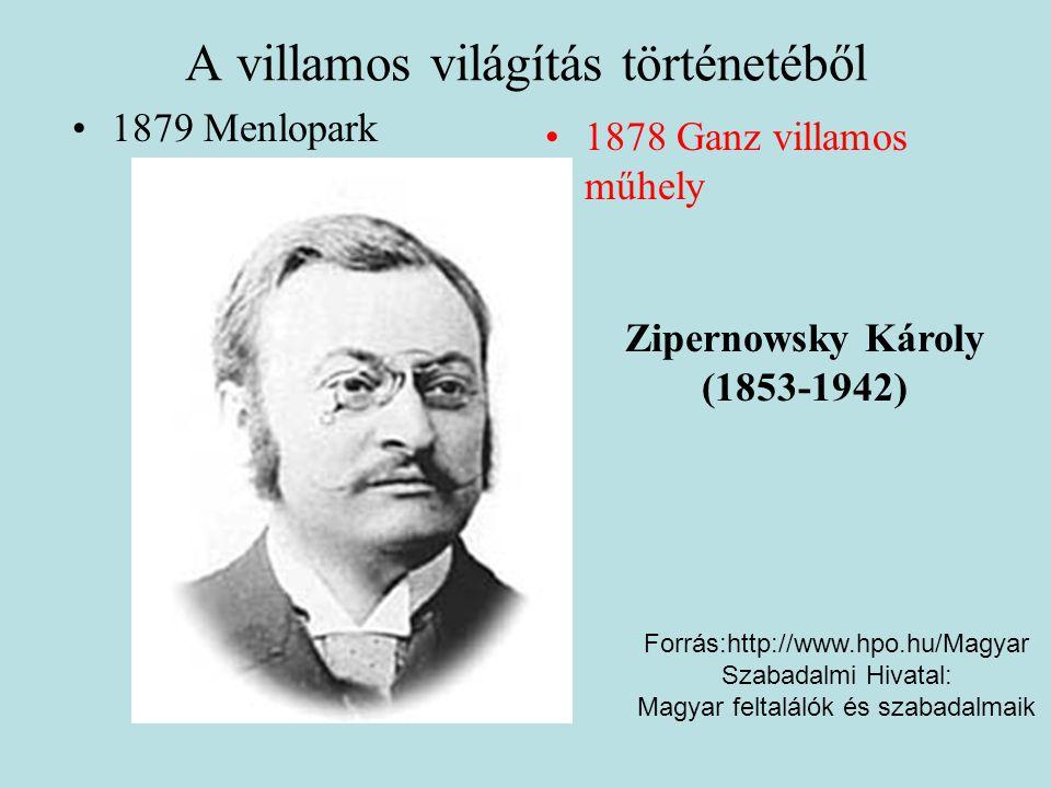 A villamos világítás történetéből •1879 Menlopark •1878 Ganz villamos műhely Zipernowsky Károly (1853-1942) Forrás:http://www.hpo.hu/Magyar Szabadalmi