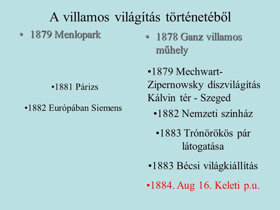 A villamos világítás történetéből •1879 Menlopark •1878 Ganz villamos műhely •1881 Párizs •1882 Európában Siemens •1882 Nemzeti színház •1883 Trónörökös pár látogatása •1883 Bécsi világkiállítás •1884.