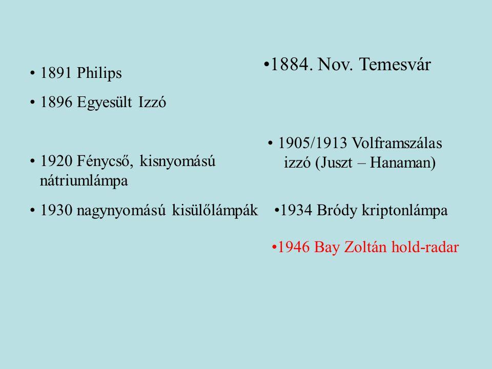 •1891 Philips •1896 Egyesült Izzó •1920 Fénycső, kisnyomású nátriumlámpa •1930 nagynyomású kisülőlámpák •1905/1913 Volframszálas izzó (Juszt – Hanaman) •1934 Bródy kriptonlámpa •1946 Bay Zoltán hold-radar •1884.