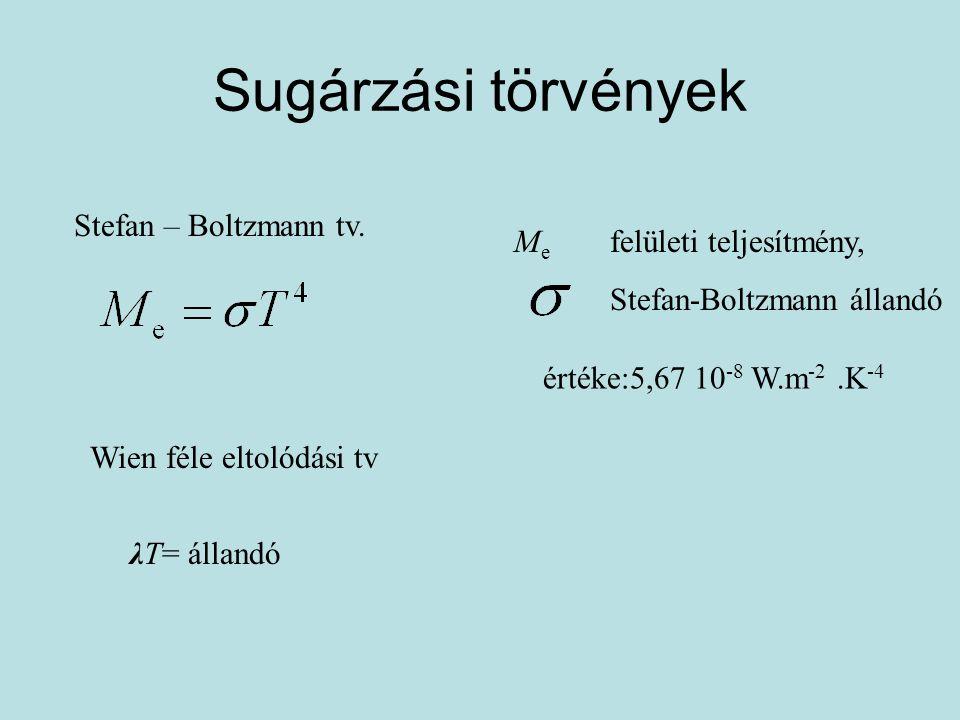 Sugárzási törvények Stefan – Boltzmann tv. M e felületi teljesítmény, Stefan-Boltzmann állandó értéke:5,67 10 -8 W.m -2.K -4 Wien féle eltolódási tv λ