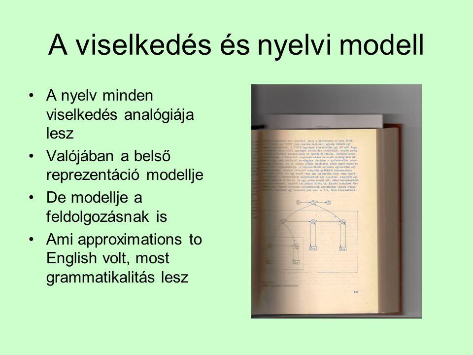 Miller és Chomsky megfordítják a trendet: mindez legfeljebb egy gyenge Markov modell •A Chomsky hierarchia és a pszicholingvisztika •Nemcsak a nyelvta