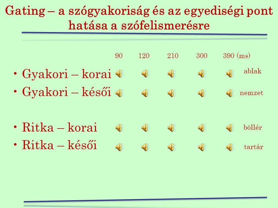 A gyakorlatban •Kapuk –90 ms –120 ms –210 ms –300 ms –390 ms •A szavak sorrendje random •Ha helyes volt egy adott kapunál a válasz (KV regisztrálja a