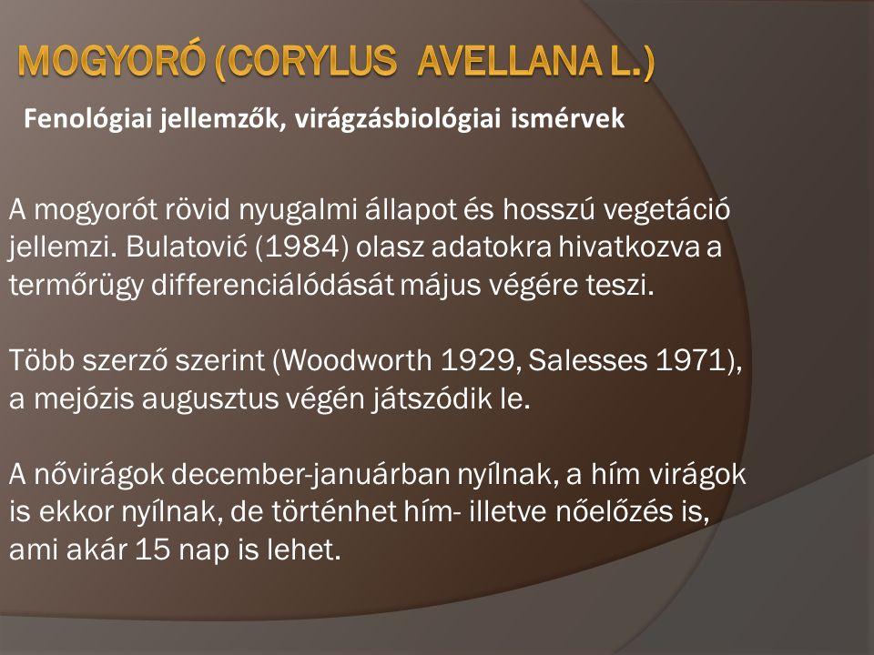 Fenológiai jellemzők, virágzásbiológiai ismérvek A mogyorót rövid nyugalmi állapot és hosszú vegetáció jellemzi. Bulatović (1984) olasz adatokra hivat