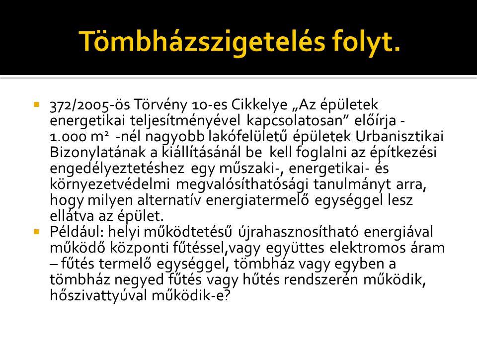 """ 372/2005-ös Törvény 10-es Cikkelye """"Az épületek energetikai teljesítményével kapcsolatosan"""" előírja - 1.000 m 2 -nél nagyobb lakófelületű épületek U"""