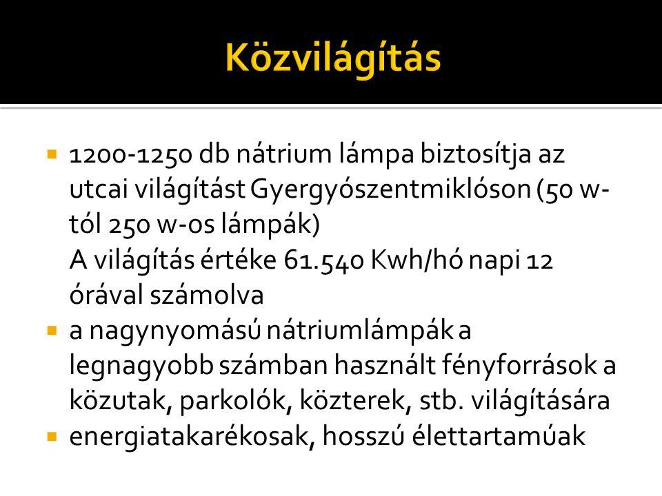  1200-1250 db nátrium lámpa biztosítja az utcai világítást Gyergyószentmiklóson (50 w- tól 250 w-os lámpák) A világítás értéke 61.540 Kwh/hó napi 12