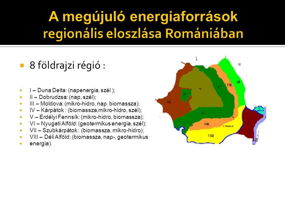 8 földrajzi régió :  I – Duna Delta: (napenergia, szél );  II – Dobrudzsa: (nap, szél);  III – Moldova: (mikro-hidro, nap, biomassza);  IV – Kár