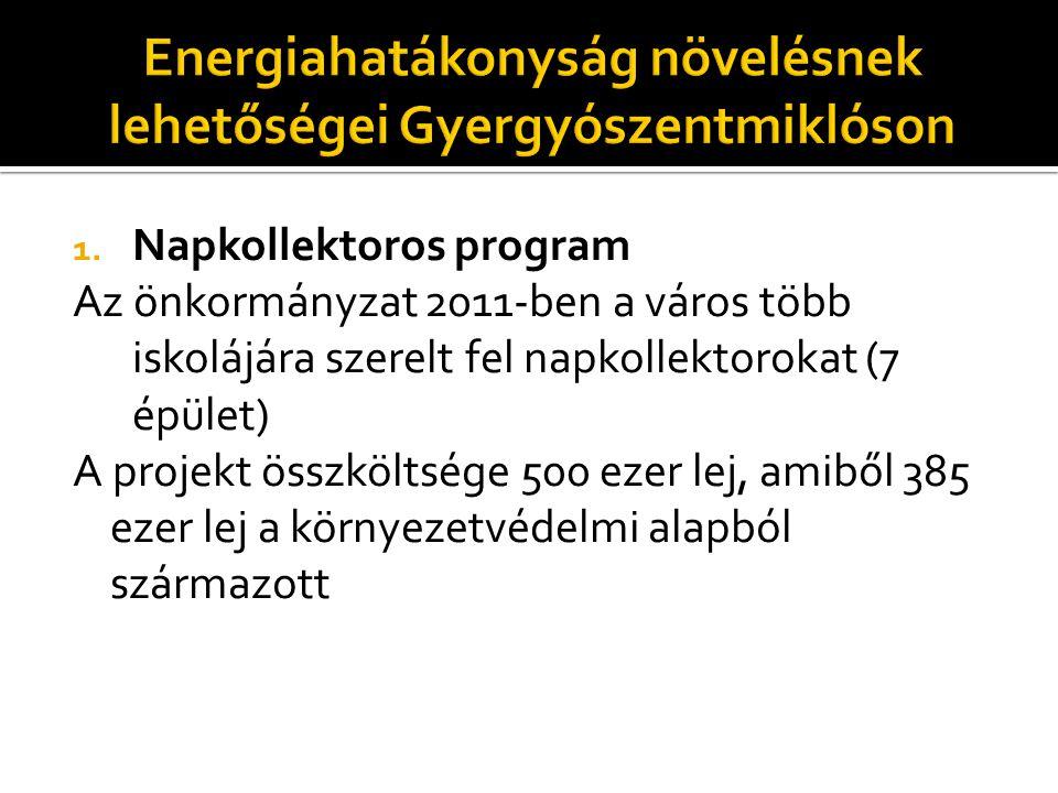 1. Napkollektoros program Az önkormányzat 2011-ben a város több iskolájára szerelt fel napkollektorokat (7 épület) A projekt összköltsége 500 ezer lej
