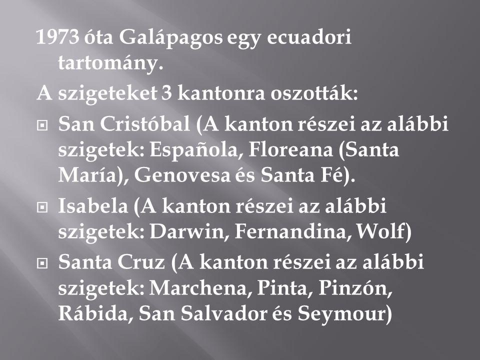 1973 óta Galápagos egy ecuadori tartomány. A szigeteket 3 kantonra oszották:  San Cristóbal (A kanton részei az alábbi szigetek: Española, Floreana (