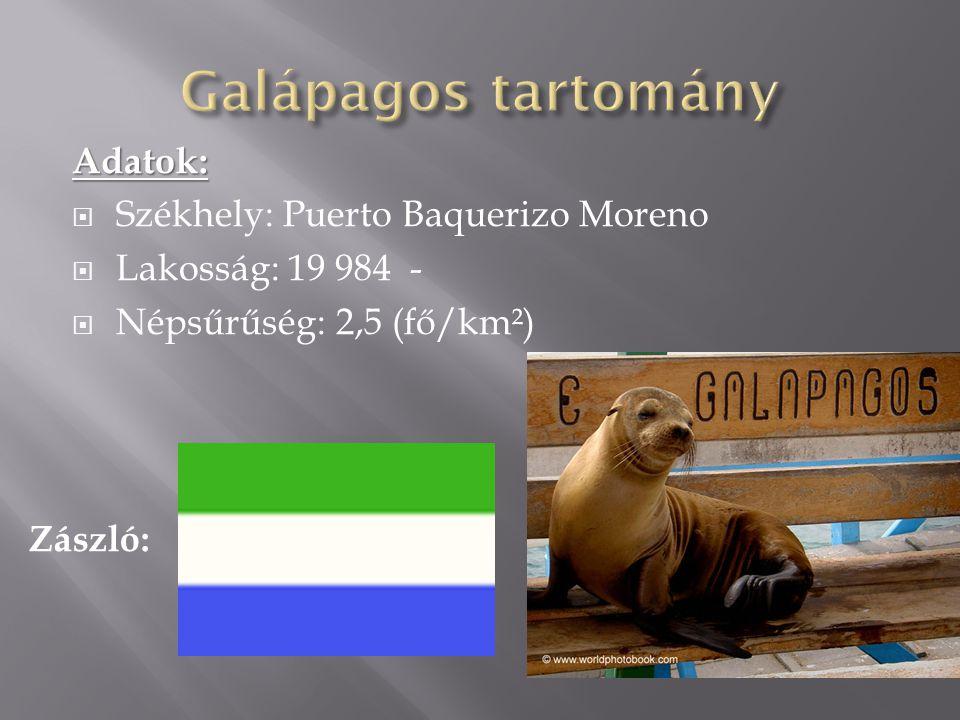 Adatok:  Székhely: Puerto Baquerizo Moreno  Lakosság: 19 984 -  Népsűrűség: 2,5 (fő/km²) Zászló: