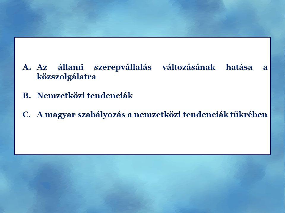A.Az állami szerepvállalás változásának hatása a közszolgálatra B.Nemzetközi tendenciák C.A magyar szabályozás a nemzetközi tendenciák tükrében