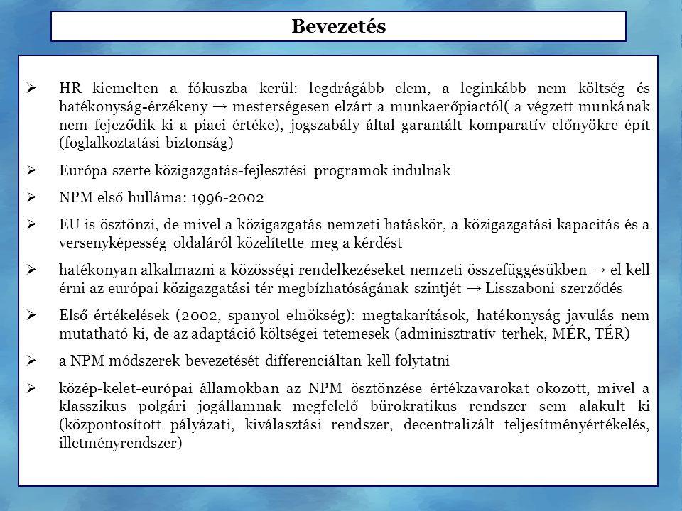  HR kiemelten a fókuszba kerül: legdrágább elem, a leginkább nem költség és hatékonyság-érzékeny → mesterségesen elzárt a munkaerőpiactól( a végzett munkának nem fejeződik ki a piaci értéke), jogszabály által garantált komparatív előnyökre épít (foglalkoztatási biztonság)  Európa szerte közigazgatás-fejlesztési programok indulnak  NPM első hulláma: 1996-2002  EU is ösztönzi, de mivel a közigazgatás nemzeti hatáskör, a közigazgatási kapacitás és a versenyképesség oldaláról közelítette meg a kérdést  hatékonyan alkalmazni a közösségi rendelkezéseket nemzeti összefüggésükben → el kell érni az európai közigazgatási tér megbízhatóságának szintjét → Lisszaboni szerződés  Első értékelések (2002, spanyol elnökség): megtakarítások, hatékonyság javulás nem mutatható ki, de az adaptáció költségei tetemesek (adminisztratív terhek, MÉR, TÉR)  a NPM módszerek bevezetését differenciáltan kell folytatni  közép-kelet-európai államokban az NPM ösztönzése értékzavarokat okozott, mivel a klasszikus polgári jogállamnak megfelelő bürokratikus rendszer sem alakult ki (központosított pályázati, kiválasztási rendszer, decentralizált teljesítményértékelés, illetményrendszer) Bevezetés