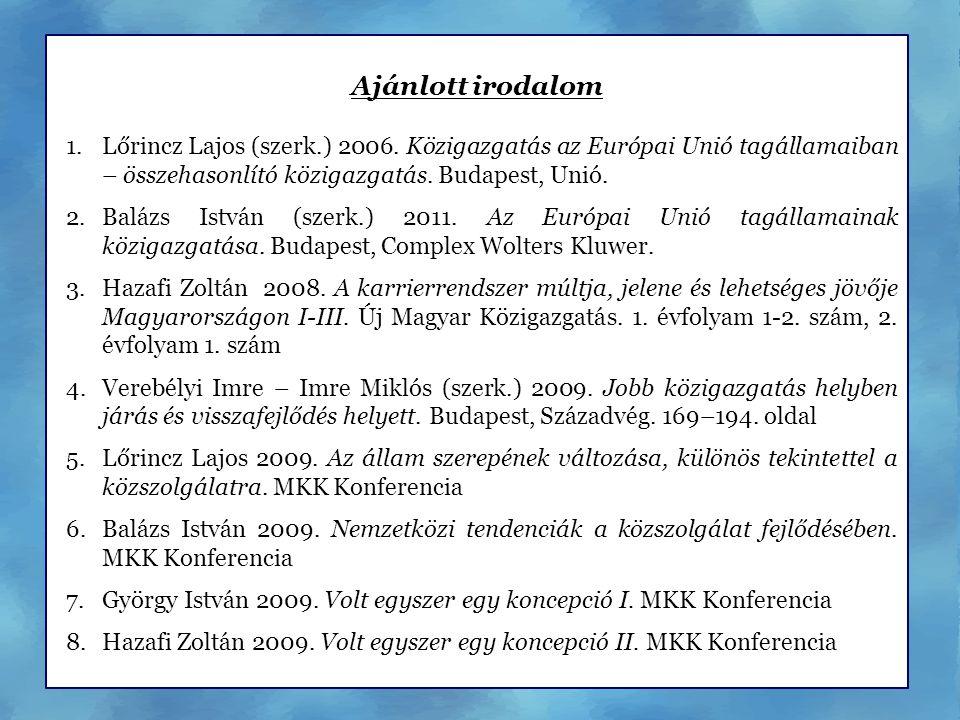 Ajánlott irodalom 1.Lőrincz Lajos (szerk.) 2006. Közigazgatás az Európai Unió tagállamaiban – összehasonlító közigazgatás. Budapest, Unió. 2.Balázs Is