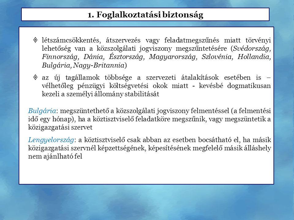  létszámcsökkentés, átszervezés vagy feladatmegszűnés miatt törvényi lehetőség van a közszolgálati jogviszony megszűntetésére (Svédország, Finnország