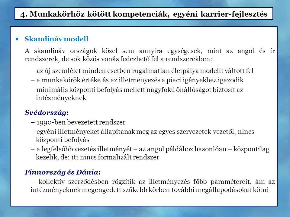  Skandináv modell A skandináv országok közel sem annyira egységesek, mint az angol és ír rendszerek, de sok közös vonás fedezhető fel a rendszerekben: – az új szemlélet minden esetben rugalmatlan életpálya modellt váltott fel – a munkakörök értéke és az illetményezés a piaci igényekhez igazodik – minimális központi befolyás mellett nagyfokú önállóságot biztosít az intézményeknek Svédország: – 1990-ben bevezetett rendszer – egyéni illetményeket állapítanak meg az egyes szervezetek vezetői, nincs központi befolyás – a legfelsőbb vezetés illetményét – az angol példához hasonlóan – központilag kezelik, de: itt nincs formalizált rendszer Finnország és Dánia: – kollektív szerződésben rögzítik az illetményezés főbb paramétereit, ám az intézményeknek megengedett szűkebb körben további megállapodásokat kötni 4.