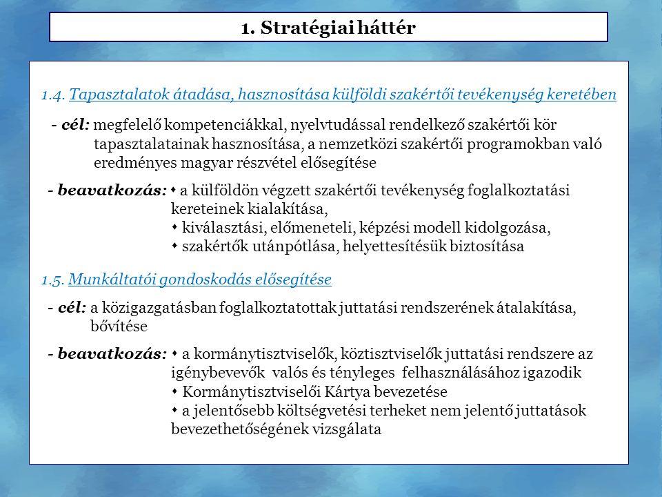 1.4. Tapasztalatok átadása, hasznosítása külföldi szakértői tevékenység keretében - cél: megfelelő kompetenciákkal, nyelvtudással rendelkező szakértői