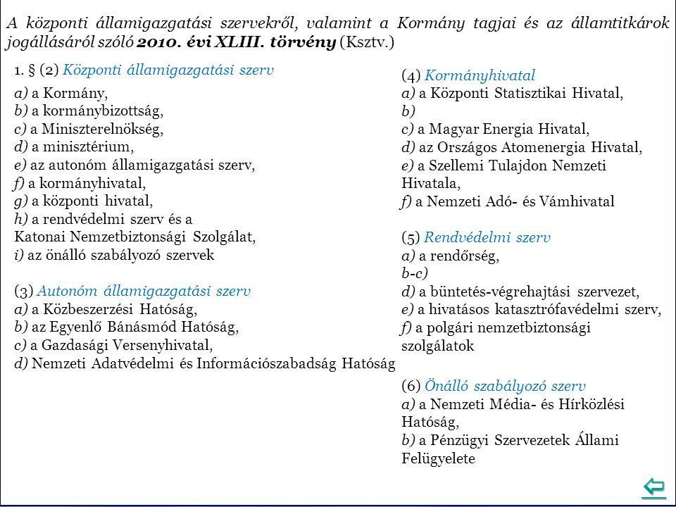 A központi államigazgatási szervekről, valamint a Kormány tagjai és az államtitkárok jogállásáról szóló 2010. évi XLIII. törvény (Ksztv.) 1. § (2) Köz