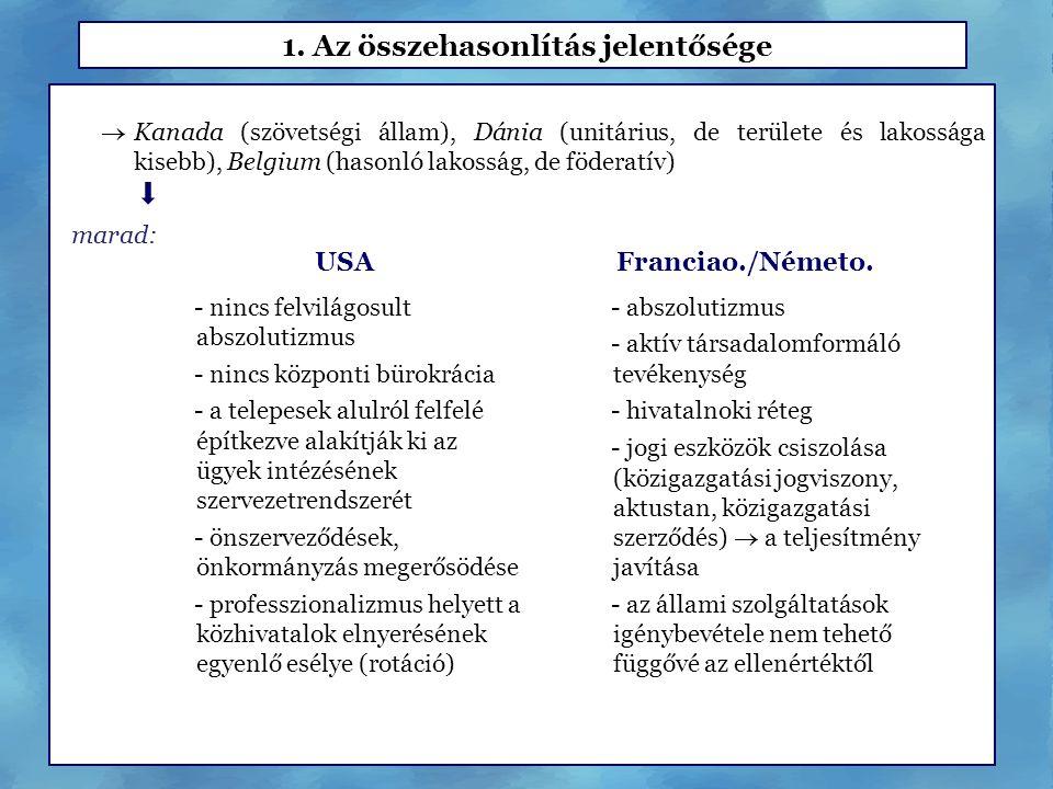 1. Az összehasonlítás jelentősége  Kanada (szövetségi állam), Dánia (unitárius, de területe és lakossága kisebb), Belgium (hasonló lakosság, de föder