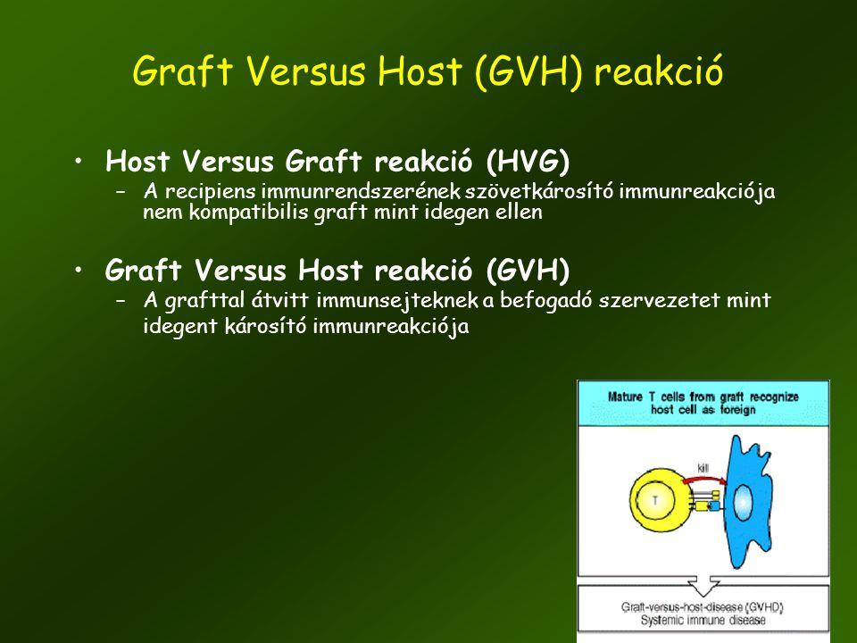 16 •Host Versus Graft reakció (HVG) –A recipiens immunrendszerének szövetkárosító immunreakciója nem kompatibilis graft mint idegen ellen •Graft Versu