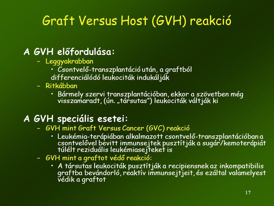 17 A GVH előfordulása: –Leggyakrabban •Csontvelő-transzplantáció után, a graftból differenciálódó leukociták indukálják –Ritkábban •Bármely szervi tra