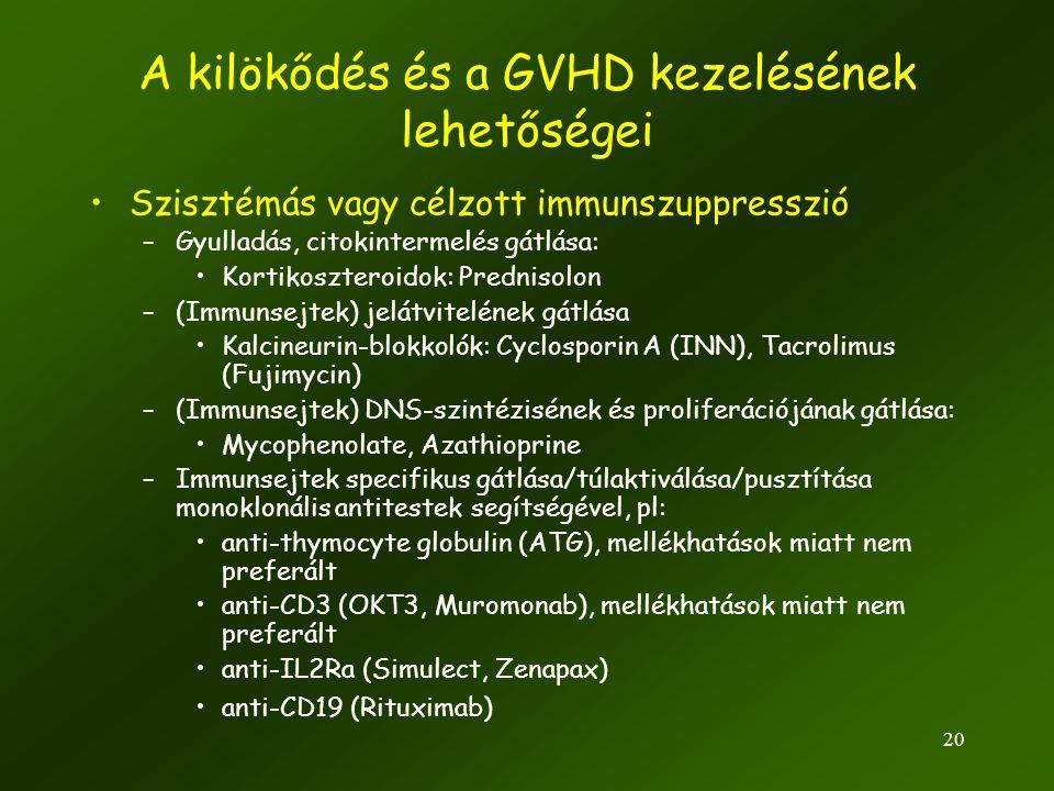 20 A kilökődés és a GVHD kezelésének lehetőségei •Szisztémás vagy célzott immunszuppresszió –Gyulladás, citokintermelés gátlása: •Kortikoszteroidok: P