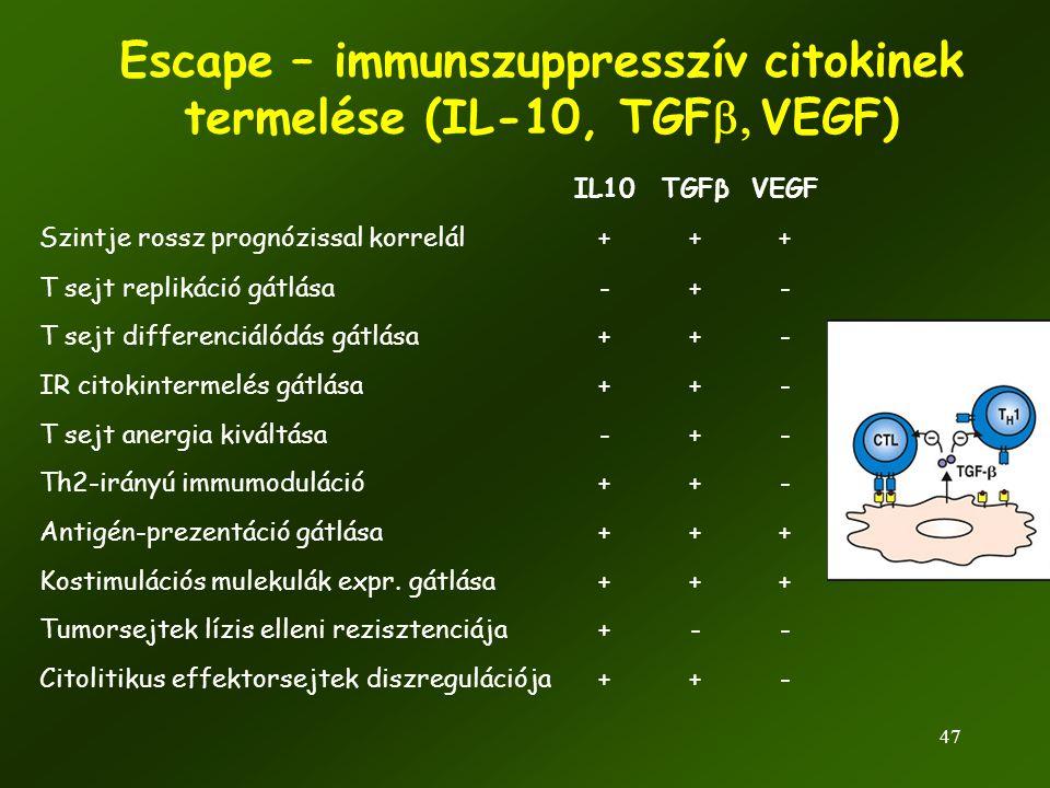 47 IL10TGFβVEGF Szintje rossz prognózissal korrelál+++ T sejt replikáció gátlása-+- T sejt differenciálódás gátlása++- IR citokintermelés gátlása++- T