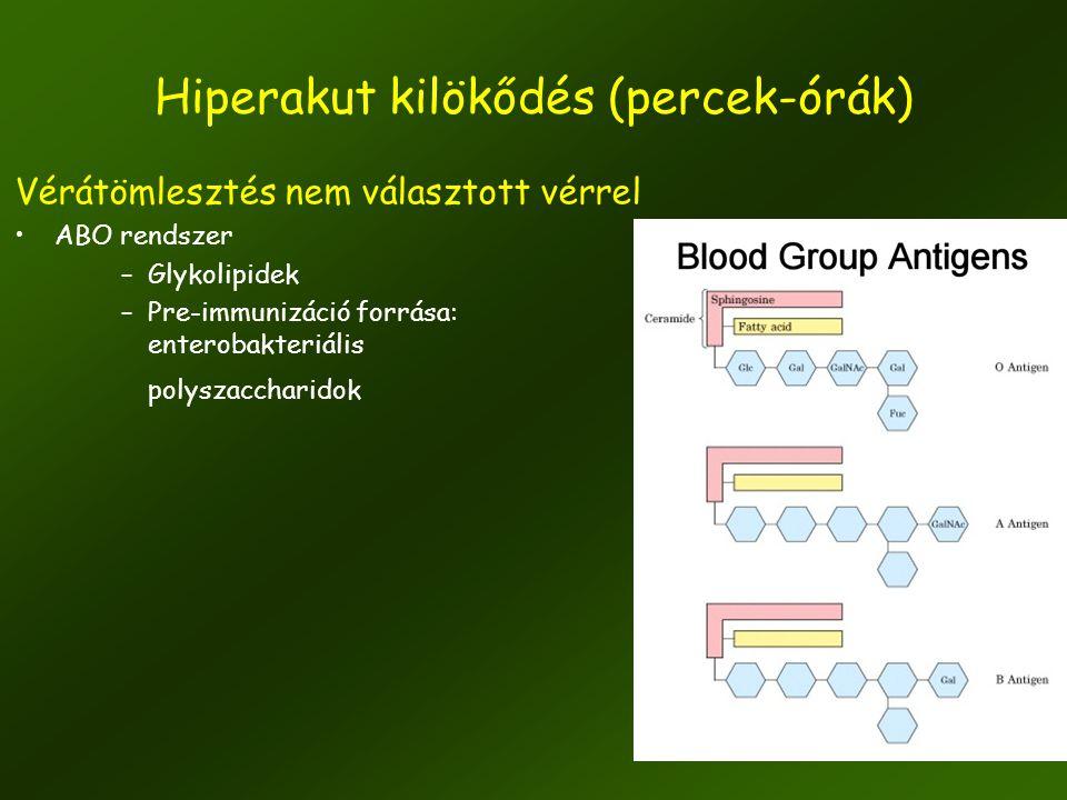 9 Vérátömlesztés nem választott vérrel •ABO rendszer –Glykolipidek –Pre-immunizáció forrása: enterobakteriális polyszaccharidok Hiperakut kilökődés (p