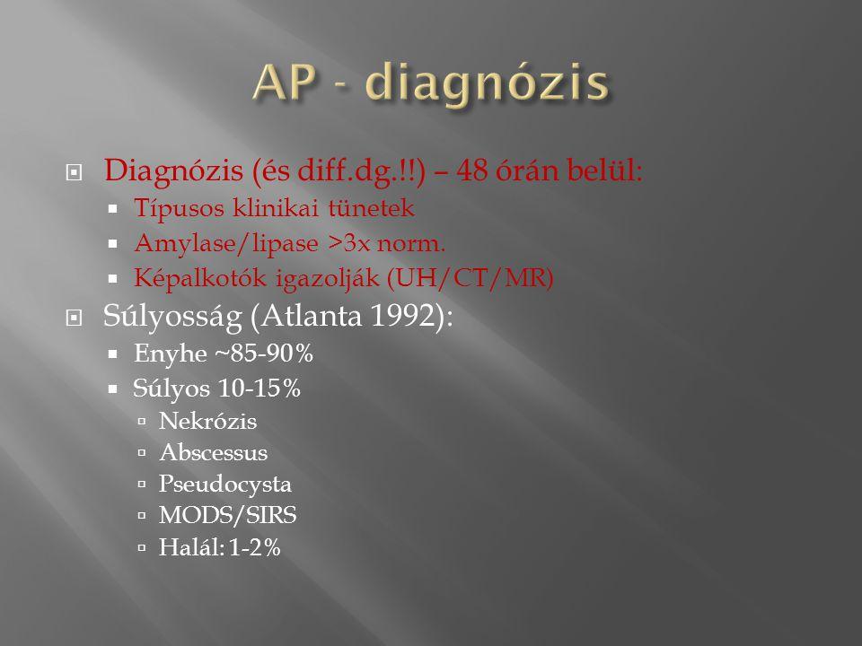  Diagnózis (és diff.dg.!!) – 48 órán belül:  Típusos klinikai tünetek  Amylase/lipase >3x norm.