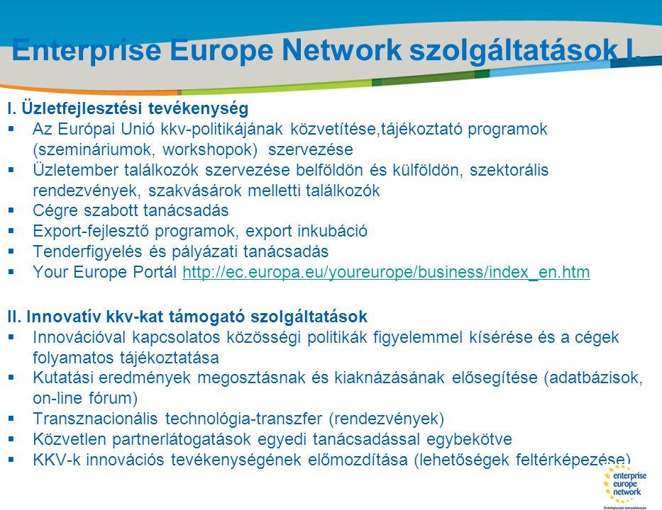 Title of the presentation | Date |‹#› Enterprise Europe Network szolgáltatások I. I. Üzletfejlesztési tevékenység  Az Európai Unió kkv-politikájának