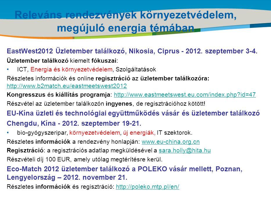 Title of the presentation | Date |‹#› Releváns rendezvények környezetvédelem, megújuló energia témában EastWest2012 Üzletember találkozó, Nikosia, Cip