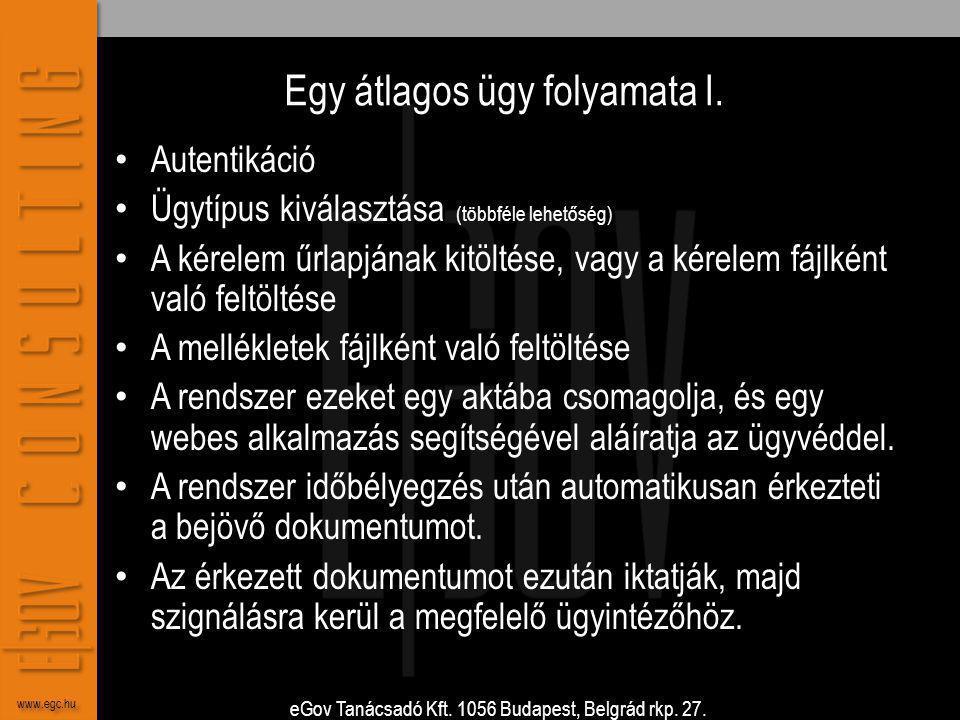 eGov Tanácsadó Kft. 1056 Budapest, Belgrád rkp. 27. www.egc.hu Egy átlagos ügy folyamata I. • Autentikáció • Ügytípus kiválasztása (többféle lehetőség