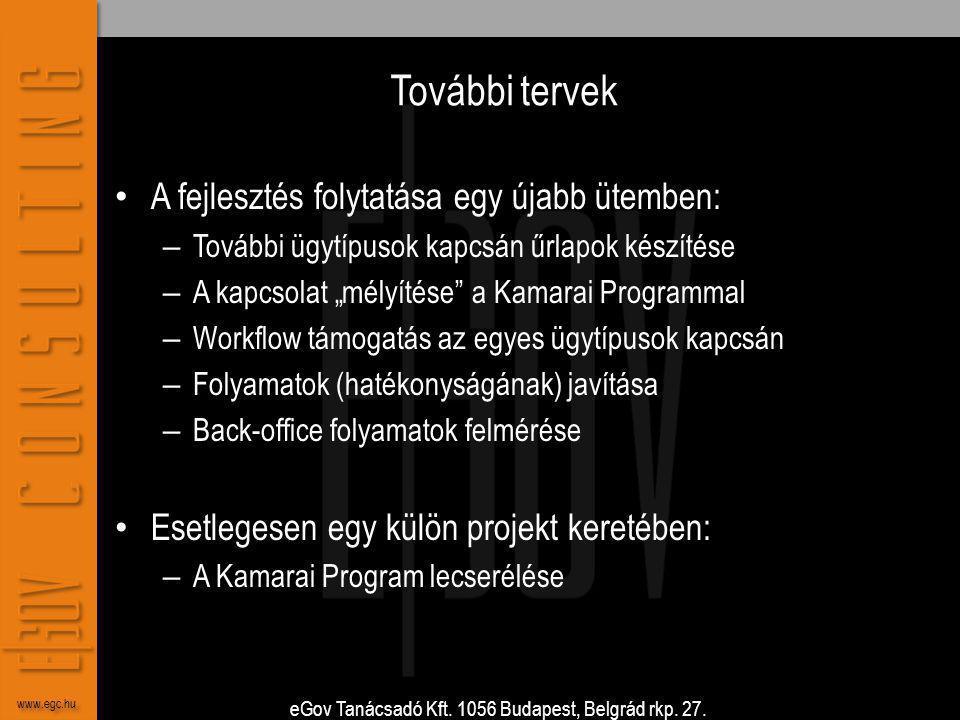 eGov Tanácsadó Kft. 1056 Budapest, Belgrád rkp. 27. www.egc.hu További tervek • A fejlesztés folytatása egy újabb ütemben: – További ügytípusok kapcsá
