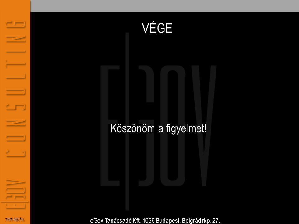 eGov Tanácsadó Kft. 1056 Budapest, Belgrád rkp. 27. www.egc.hu VÉGE Köszönöm a figyelmet!