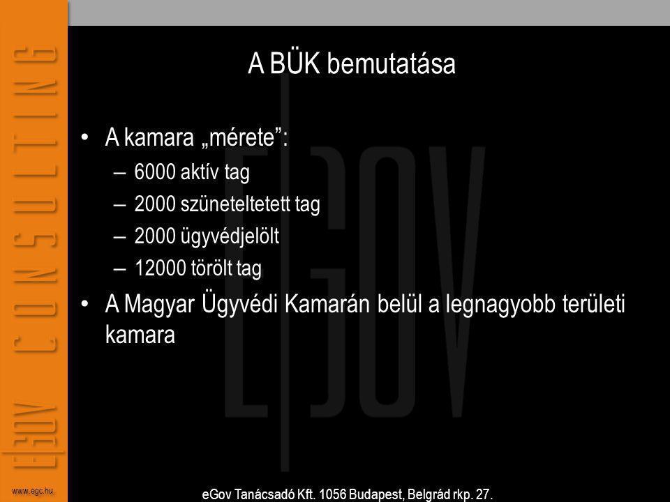 """eGov Tanácsadó Kft. 1056 Budapest, Belgrád rkp. 27. www.egc.hu A BÜK bemutatása • A kamara """"mérete"""": – 6000 aktív tag – 2000 szüneteltetett tag – 2000"""