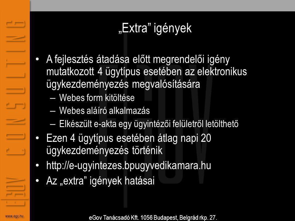 """eGov Tanácsadó Kft. 1056 Budapest, Belgrád rkp. 27. www.egc.hu """"Extra"""" igények • A fejlesztés átadása előtt megrendelői igény mutatkozott 4 ügytípus e"""