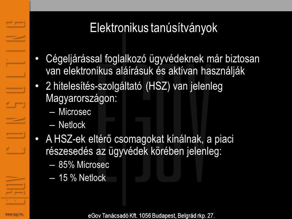 eGov Tanácsadó Kft. 1056 Budapest, Belgrád rkp. 27. www.egc.hu Elektronikus tanúsítványok • Cégeljárással foglalkozó ügyvédeknek már biztosan van elek