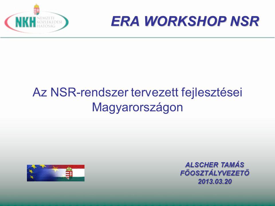 Az NSR-rendszer tervezett fejlesztései Magyarországon ALSCHER TAMÁS FŐOSZTÁLYVEZETŐ2013.03.20