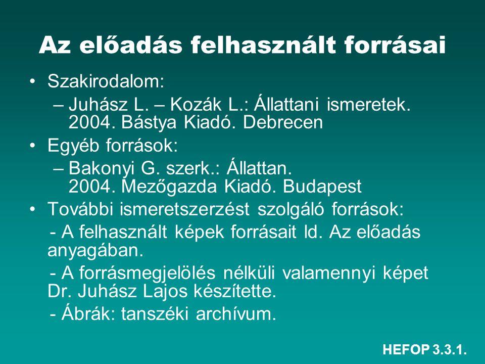 HEFOP 3.3.1. Az előadás felhasznált forrásai •Szakirodalom: –Juhász L. – Kozák L.: Állattani ismeretek. 2004. Bástya Kiadó. Debrecen •Egyéb források: