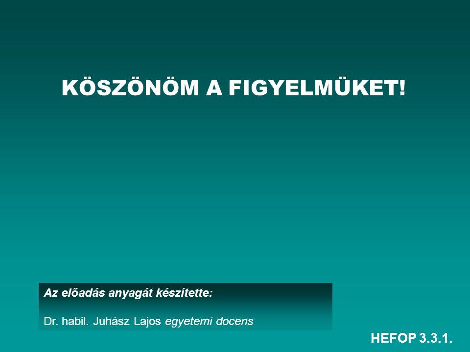 HEFOP 3.3.1. Az előadás anyagát készítette: Dr. habil. Juhász Lajos egyetemi docens KÖSZÖNÖM A FIGYELMÜKET!